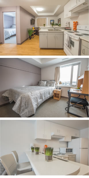 Suite-style kitchenette; bedroom featuring single bed and desk; breakfast bar in kitchen.